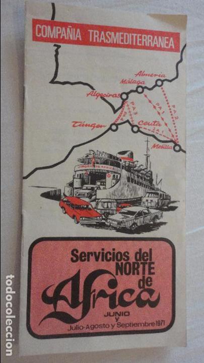 COMPAÑIA TRASMEDITERRANEA.SERVICIOS NORTE DE AFRICA.HORARIOS.TARIFAS.1971 (Coleccionismo - Líneas de Navegación)