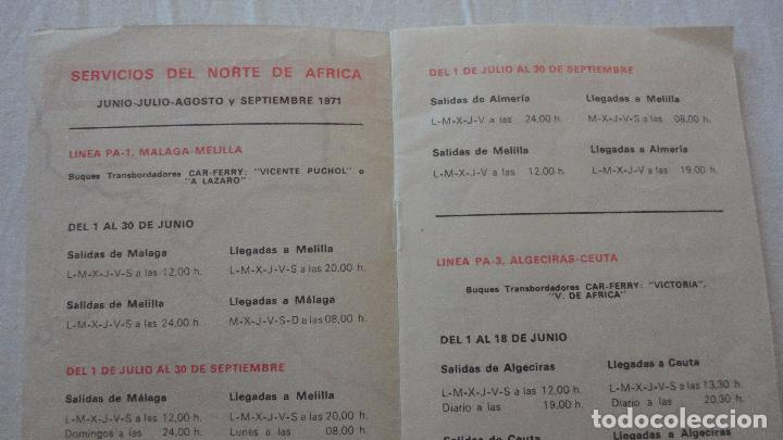 Líneas de navegación: COMPAÑIA TRASMEDITERRANEA.SERVICIOS NORTE DE AFRICA.HORARIOS.TARIFAS.1971 - Foto 2 - 134124358
