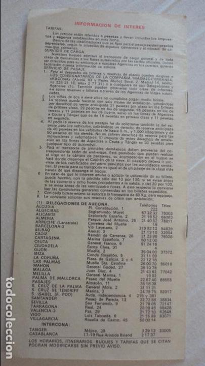 Líneas de navegación: COMPAÑIA TRASMEDITERRANEA.SERVICIOS NORTE DE AFRICA.HORARIOS.TARIFAS.1971 - Foto 5 - 134124358