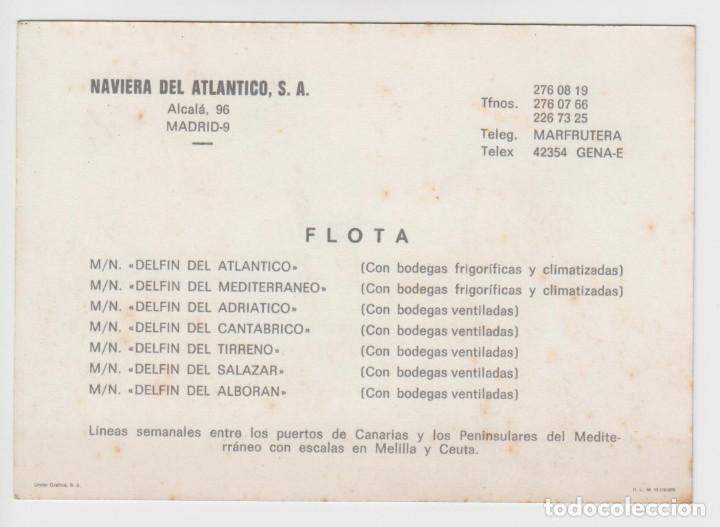 Líneas de navegación: Tarjeta publicitaria Naviera del atlántico - Lista flota 1975 - Foto 2 - 134729794