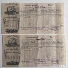 Líneas de navegación: CONOCIMIENTO DE EMBARQUE YBARRA , SEVILLA , CADIZ 1890 , LOTE DE 2. Lote 137399946