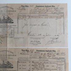 Líneas de navegación: CONOCIMIENTO DE EMBARQUE ESPALIÚ , SEVILLA , CADIZ 1897 , LOTE DE 2. Lote 137400086