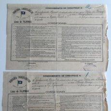 Líneas de navegación: CONOCIMIENTO DE EMBARQUE TRASATLANTICA , LINEA DE FILIPINAS , CADIZ 1903 , LOTE DE 2. Lote 137400262