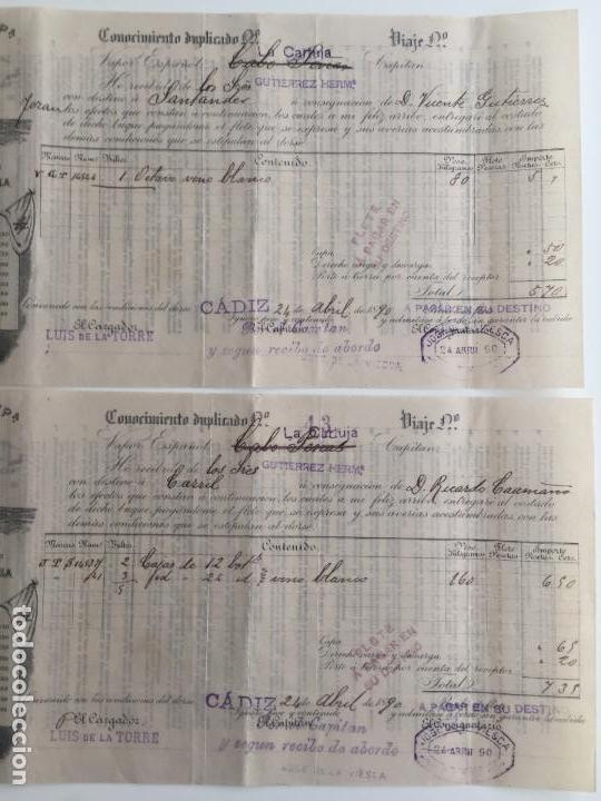 Líneas de navegación: CONOCIMIENTO DE EMBARQUE YBARRA , SEVILLA , CADIZ 1890 , LOTE DE 2 - Foto 2 - 137399946