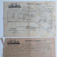 Líneas de navegación: CONOCIMIENTO DE EMBARQUE TRASATLANTICA , LINEA DE FILIPINAS , CADIZ 1890 , LOTE DE 2. Lote 137405814