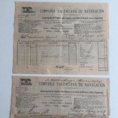 Líneas de navegación: CONOCIMIENTO DE EMBARQUE COMPAÑIA VALENCIANA DE NAVEGACION , CADIZ . 1903. Lote 137405990