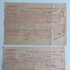 Líneas de navegación: CONOCIMIENTO DE EMBARQUE CONOCIMIENTO CUADRUPLICADO , LINEA DE VAPORES SERRA , 1897. Lote 137406214