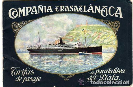 COMPAÑÍA TRASATLÁNTICA TARIFAS DEL PASAJE PARA LA LINEA DEL PLATA 1929 VAPOR REINA VICTORIA EUGENIA (Coleccionismo - Líneas de Navegación)