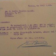 Líneas de navegación: IBARRA Y CIA.S.A. CARTA.EMILIO TIZOLIZ GARCIA.MUSICO.CABO DE HORNOS.BILBAO 1959. Lote 139765390
