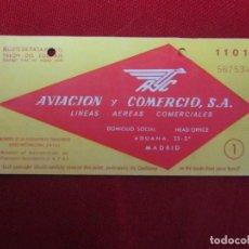 Líneas de navegación: BILLETE DE PASAJE AVIACIÓN Y COMERCIO 1954. Lote 141145070