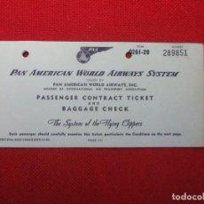 Líneas de navegación: BILLETE DE PASAJE PAN AMERICAN WORLD AIRWAYS 1952. Lote 141146414