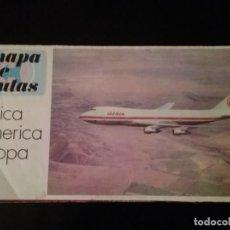 Líneas de navegación: IBERIA. MAPA DE RUTAS. AFRICA, AMERICA Y EUROPA.. Lote 141486442