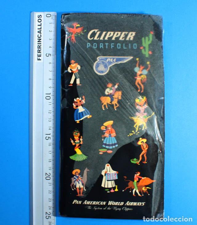 PORTFOLIO CLIPPER PAN AMERICAN WORLD AIRWAIS CARPETA + 7 FOLLETOS + 1 DICCIONARIO + 3 POSTALES, PAA (Coleccionismo - Líneas de Navegación)