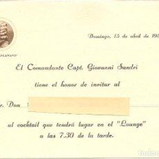 Líneas de navegación: CRUCERO CONTE BIANCAMANO, TARJETA-INVITACIÓN A COCKTAIL, 1956. Lote 143579406