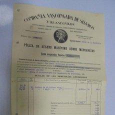 Líneas de navegación: VAPOR ELCANO. CADIZ - BUENAVENTURA. POLIZA DE SEGURO MARITIMO. COMPAÑIA VASCONGADA. 1930. Lote 145064994