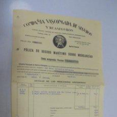Líneas de navegación: VAPOR MAGALLANES. CADIZ - HABANA. POLIZA DE SEGURO MARITIMO. COMPAÑIA VASCONGADA. 1930. Lote 145065086