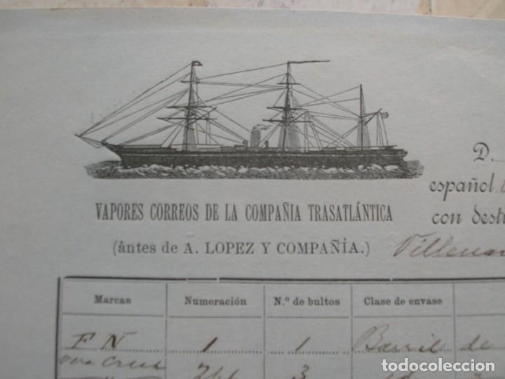 CONOCIMIENTO DE EMBARQUE.VAPORES CORREOS DE LA COMPAÑIA TRASATLÁNTICA.VAPOR CIUDAD DE SANTANDER.1886 (Coleccionismo - Líneas de Navegación)