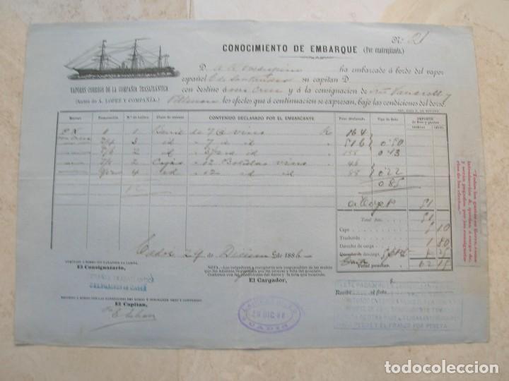Líneas de navegación: Conocimiento de embarque.Vapores correos de la compañia trasatlántica.Vapor Ciudad de Santander.1886 - Foto 2 - 145114638