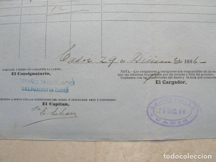 Líneas de navegación: Conocimiento de embarque.Vapores correos de la compañia trasatlántica.Vapor Ciudad de Santander.1886 - Foto 3 - 145114638