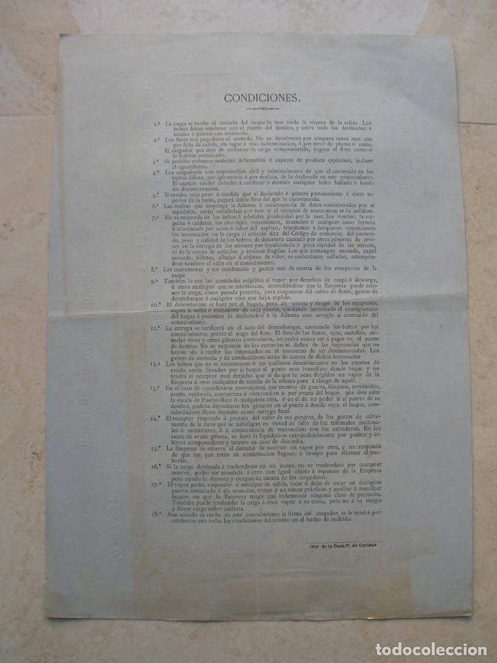 Líneas de navegación: Conocimiento de embarque.Vapores correos de la compañia trasatlántica.Vapor Ciudad de Santander.1886 - Foto 4 - 145114638