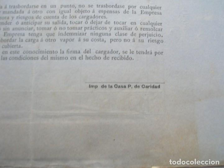 Líneas de navegación: Conocimiento de embarque.Vapores correos de la compañia trasatlántica.Vapor Ciudad de Santander.1886 - Foto 5 - 145114638