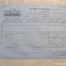 Líneas de navegación: CONOCIMIENTO DE EMBARQUE.VAPORES CORREOS DE LA COMPAÑIA TRASATLÁNTICA.VAPOR ANTONIO LOPEZ.1881. Lote 145115114