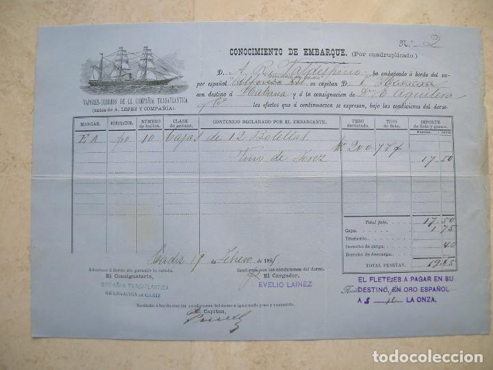 CONOCIMIENTO DE EMBARQUE.VAPORES CORREOS DE LA COMPAÑIA TRASATLÁNTICA.VAPOR ALFONSO XII.1881 (Coleccionismo - Líneas de Navegación)