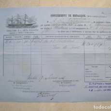 Líneas de navegación: CONOCIMIENTO DE EMBARQUE.VAPORES CORREOS DE LA COMPAÑIA TRASATLÁNTICA.VAPOR ALFONSO XII.1881. Lote 145115334