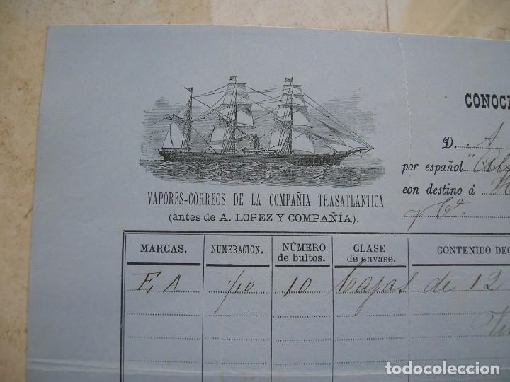 Líneas de navegación: Conocimiento de embarque.Vapores correos de la compañia trasatlántica.Vapor Alfonso XII.1881 - Foto 2 - 145115334