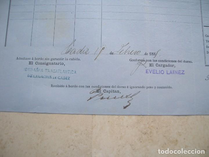Líneas de navegación: Conocimiento de embarque.Vapores correos de la compañia trasatlántica.Vapor Alfonso XII.1881 - Foto 3 - 145115334