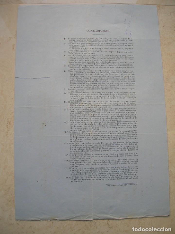 Líneas de navegación: Conocimiento de embarque.Vapores correos de la compañia trasatlántica.Vapor Alfonso XII.1881 - Foto 4 - 145115334