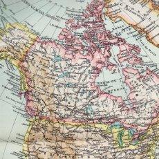 Líneas de navegación: LÁMINA ESPASA + 60 AÑOS ANTIGÜEDAD - MAPA AMERICA DEL NORTE DOBLE LÁMINA. Lote 147581330