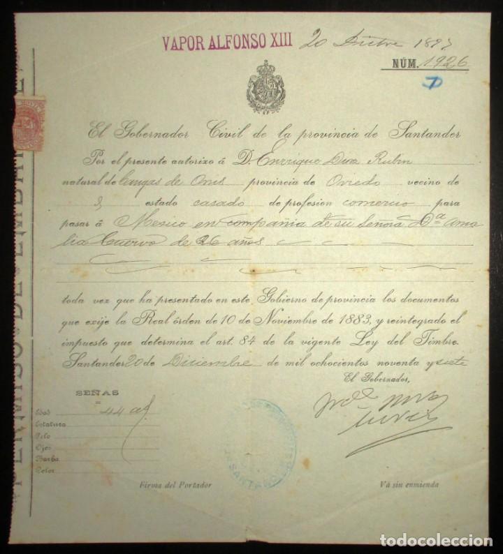 PERMISO DE EMBARQUE DE 1897 EN EL VAPOR ALFONSO XIII CON DESTINO MÉXICO.GOBIERNO CIVIL DE SANTANDER. (Coleccionismo - Líneas de Navegación)