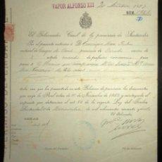 Líneas de navegación: PERMISO DE EMBARQUE DE 1897 EN EL VAPOR ALFONSO XIII CON DESTINO MÉXICO.GOBIERNO CIVIL DE SANTANDER.. Lote 147928262
