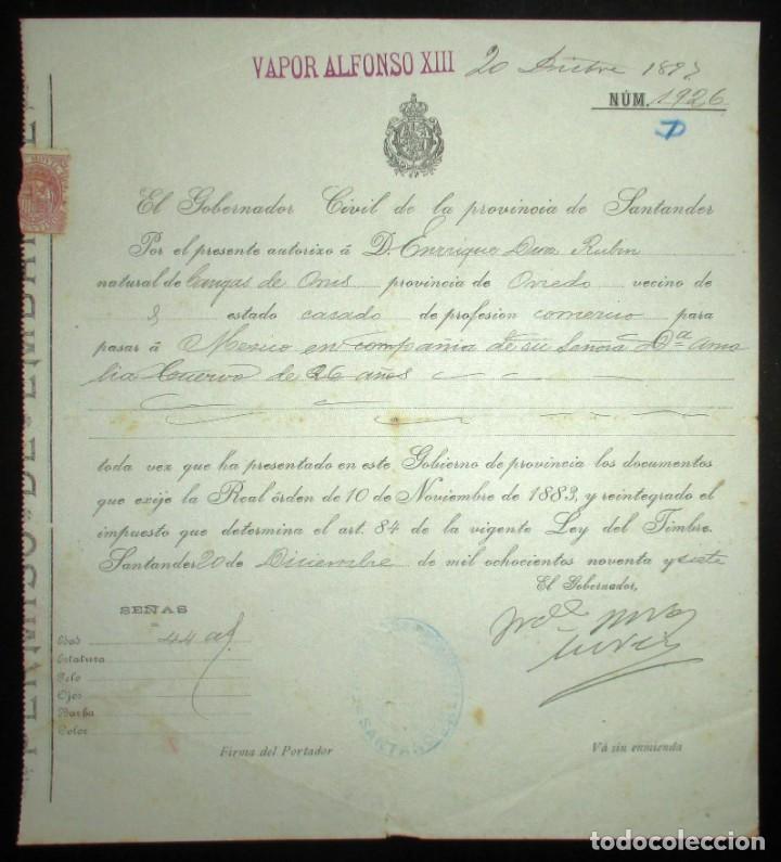 Líneas de navegación: PERMISO DE EMBARQUE DE 1897 EN EL VAPOR ALFONSO XIII CON DESTINO MÉXICO.GOBIERNO CIVIL DE SANTANDER. - Foto 2 - 147928262