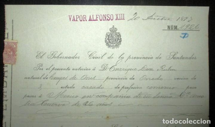 Líneas de navegación: PERMISO DE EMBARQUE DE 1897 EN EL VAPOR ALFONSO XIII CON DESTINO MÉXICO.GOBIERNO CIVIL DE SANTANDER. - Foto 3 - 147928262