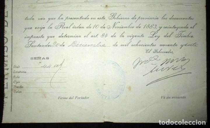 Líneas de navegación: PERMISO DE EMBARQUE DE 1897 EN EL VAPOR ALFONSO XIII CON DESTINO MÉXICO.GOBIERNO CIVIL DE SANTANDER. - Foto 4 - 147928262