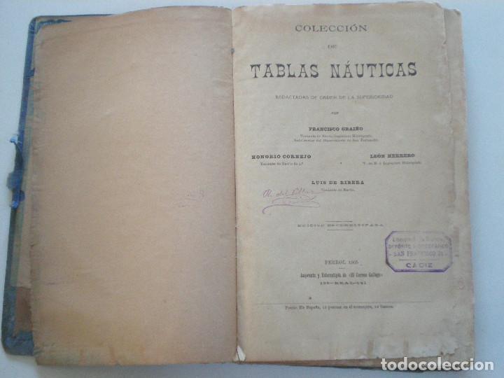 Líneas de navegación: COLECCION DE TABLAS NAUTICAS - FRANCISCO GRAIÑO - EL CORREO GALLEGO 1905 // SELLO R. DEL VILLAR - Foto 3 - 148538878