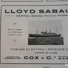 Líneas de navegación: LLOYD SABAUDO LINEA NAVEGACION BARCELOA-BUENOS AIRES TRAVESIA 15 DIAS HOJA REVISTA AÑO 1910. Lote 148544246