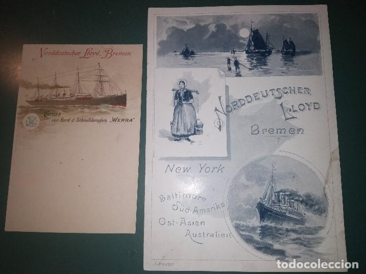 NORDDEUTSCHER LLOYD SCHNELLDAMPFER WERRA MENÚ PARA EL 11/12/1898 Y POSTAL PARA PASAJE BARCO BUQUE (Coleccionismo - Líneas de Navegación)
