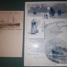 Líneas de navegación: NORDDEUTSCHER LLOYD SCHNELLDAMPFER WERRA MENÚ PARA EL 11/12/1898 Y POSTAL PARA PASAJE BARCO BUQUE. Lote 148926270
