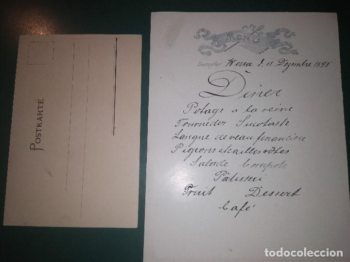 Líneas de navegación: Norddeutscher LLoyd Schnelldampfer Werra Menú para el 11/12/1898 y postal para pasaje Barco Buque - Foto 2 - 148926270