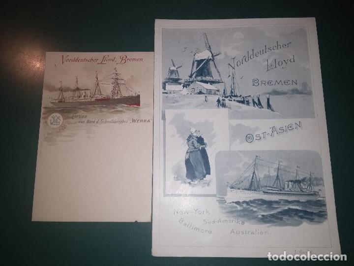 NORDDEUTSCHER LLOYD SCHNELLDAMPFER WERRA MENÚ PARA EL 14/12/1898 Y POSTAL PARA PASAJE BARCO BUQUE (Coleccionismo - Líneas de Navegación)