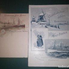 Líneas de navegación: NORDDEUTSCHER LLOYD SCHNELLDAMPFER WERRA MENÚ PARA EL 14/12/1898 Y POSTAL PARA PASAJE BARCO BUQUE. Lote 148926722