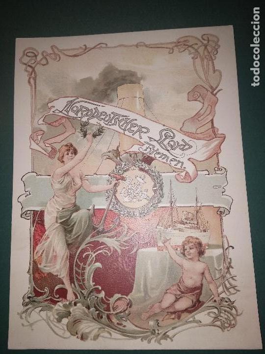 PLAQUETA DE LA COMPAÑÍA NORDDEUTSCHER LLOYD BREMEN C1900 (Coleccionismo - Líneas de Navegación)