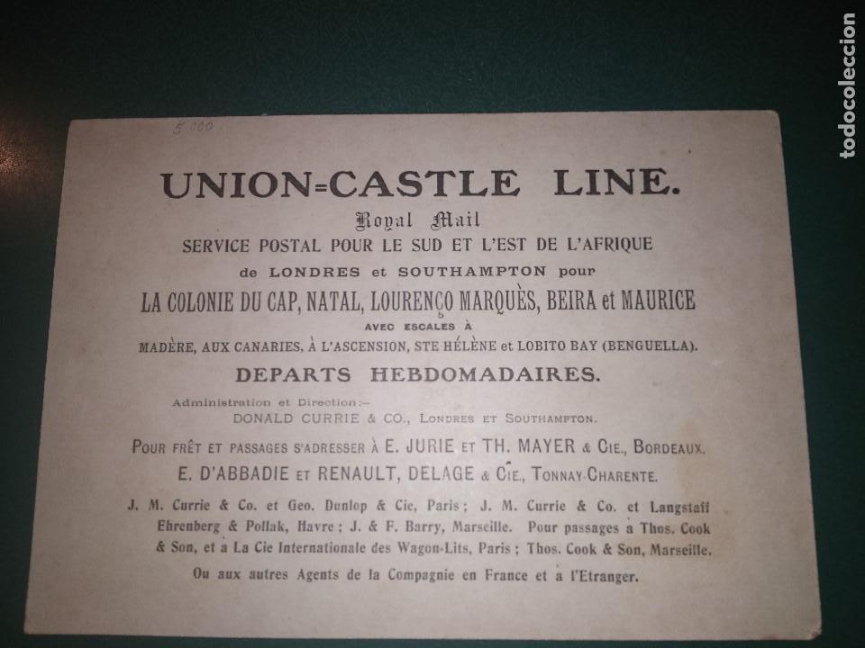 Líneas de navegación: Plaqueta de la compañía Union Castle Line Royal Mail Service to South&East Africa. Ca 1920 - Foto 2 - 148928518