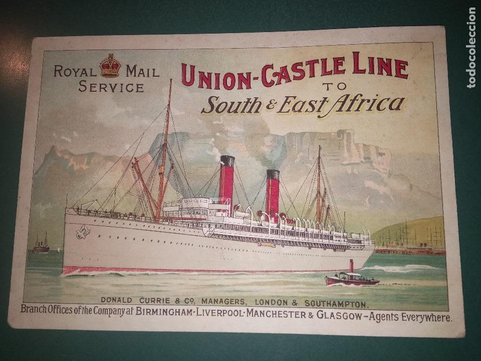 PLAQUETA DE LA COMPAÑÍA UNION CASTLE LINE ROYAL MAIL SERVICE TO SOUTH&EAST AFRICA. CA 1920 (Coleccionismo - Líneas de Navegación)