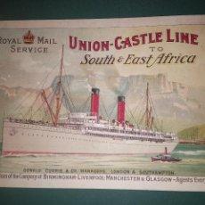 Líneas de navegación: PLAQUETA DE LA COMPAÑÍA UNION CASTLE LINE ROYAL MAIL SERVICE TO SOUTH&EAST AFRICA. CA 1920. Lote 148928518