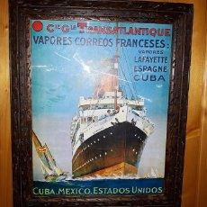 Líneas de navegación: POSTER ANTIGUA NAVIERA FRANCESA. ENMARCADO. Lote 151073102
