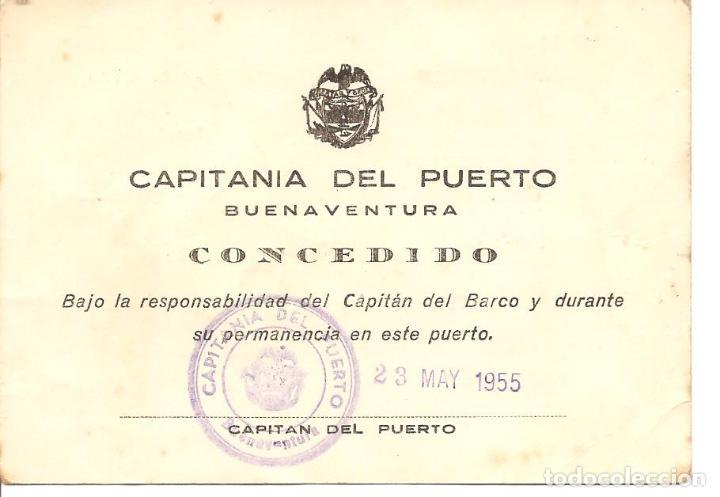 PERMISO DE DESEMBARCO, CAPITANÍA DEL PUERTO DE BUENAVENTURA-COLOMBIA, 1955, MERCANTE GRANCOLOMBIANA (Coleccionismo - Líneas de Navegación)
